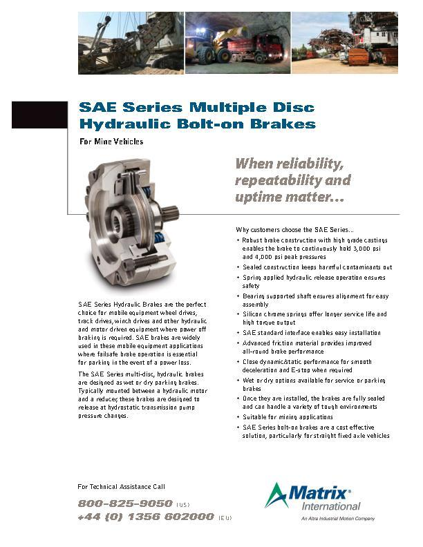 SAE Series Multiple Disc Hydraulic Bolt-on Brakes